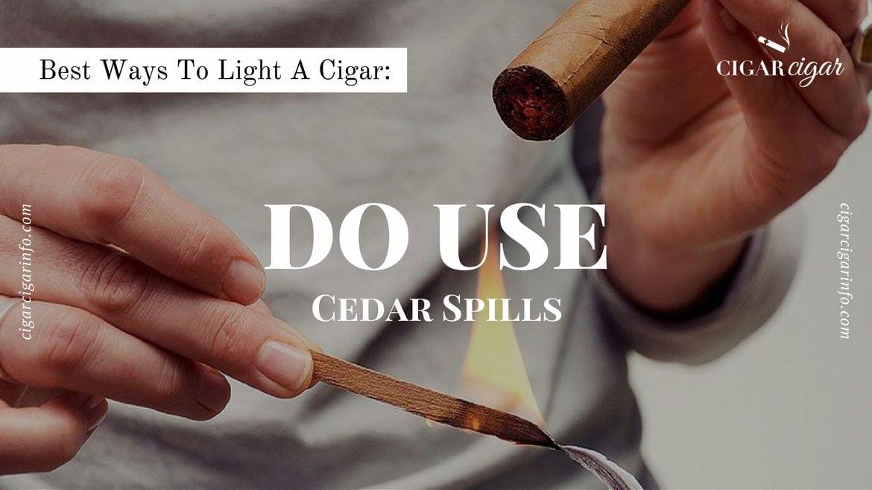 Lighting a cigar with cedar spills