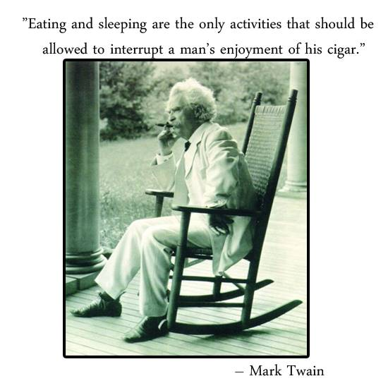 Mark Twain smoking a cigar and quote