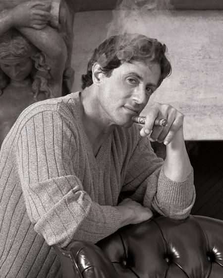 Stallone smoking a stogie in black and white
