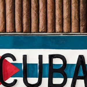 flag of cuba and cigars