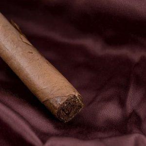 cigar on a piece of silk clothe