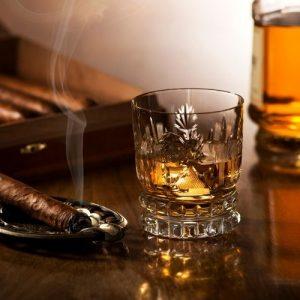 humidor, liqueur bottle, cigar and glass